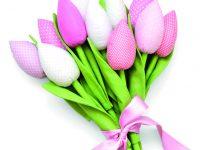 Jednoduché textilní tulipány